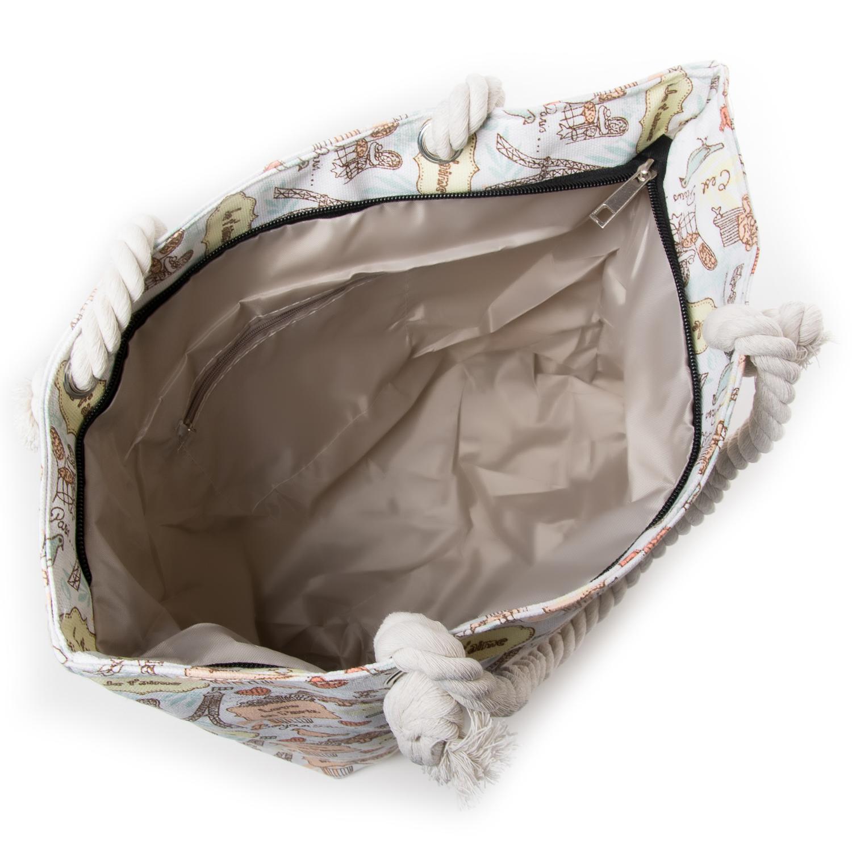 Сумка Женская Пляжная текстиль PODIUM 5018-3 white - фото 3