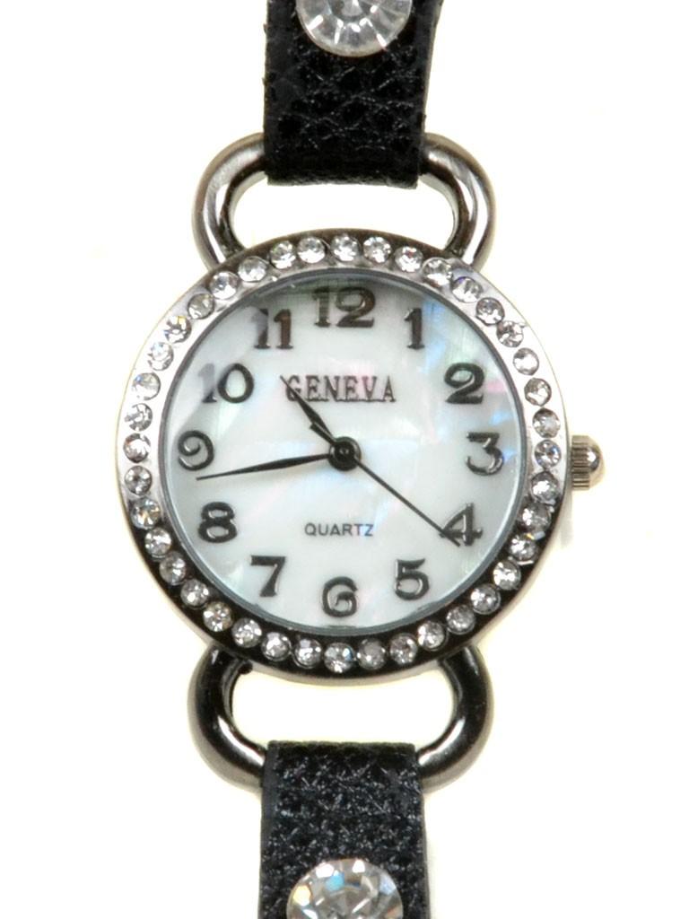 Часы Кварц Женские 4014-2 чер ремешок обмотка серебро
