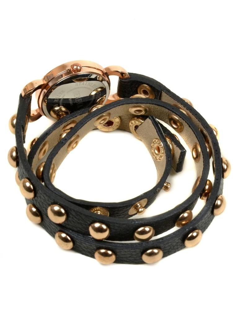 Часы Кварц Женские 4014-3 чер ремешок обмотка золото