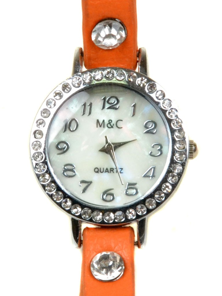 Часы Кварц Женские 4014-4 оранж ремешок обмотка серебро
