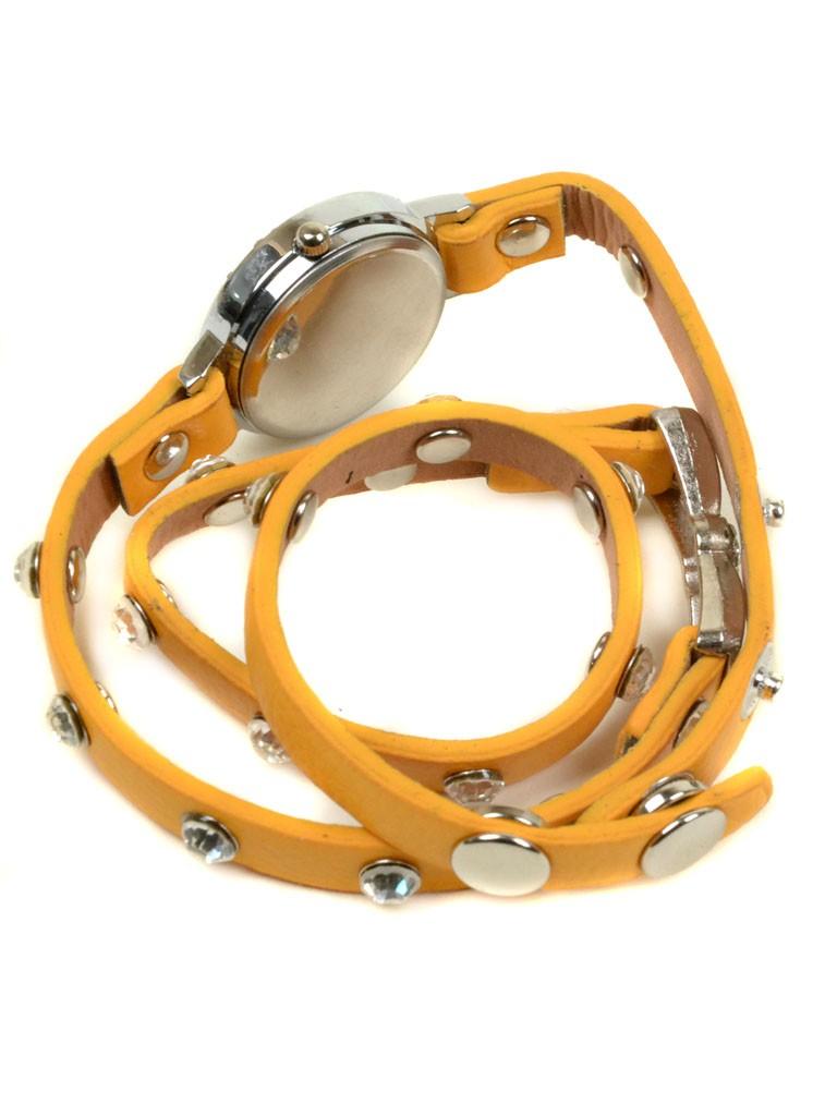 Часы Кварц Женские 4014-5 желт ремешок обмотка серебро