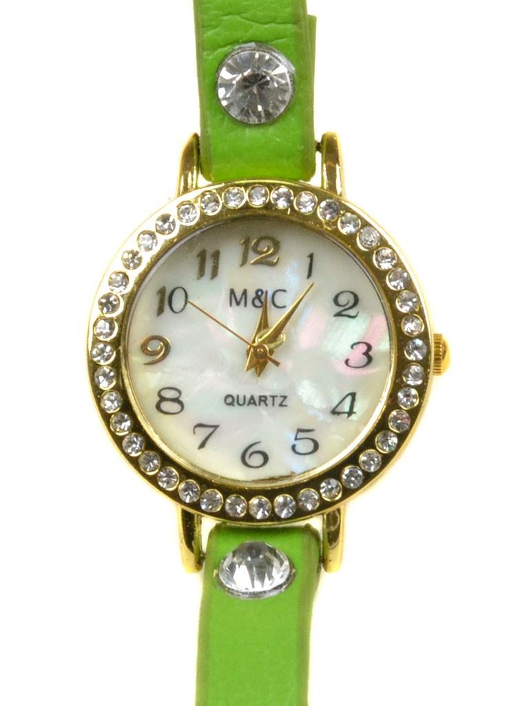 Часы Кварц Женские 4014-7 зел ремешок обмотка золото