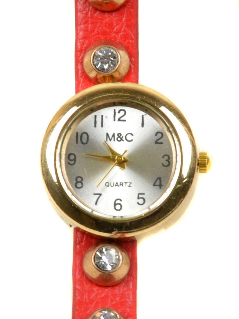 Часы Кварц Женские 4015-1 крас ремешок обмотка золото