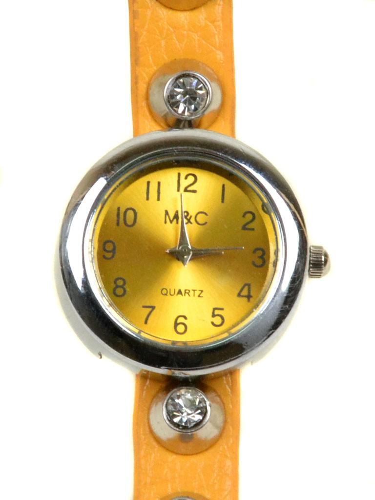 Часы Кварц Женские 4015-3 желт ремешок обмотка серебро