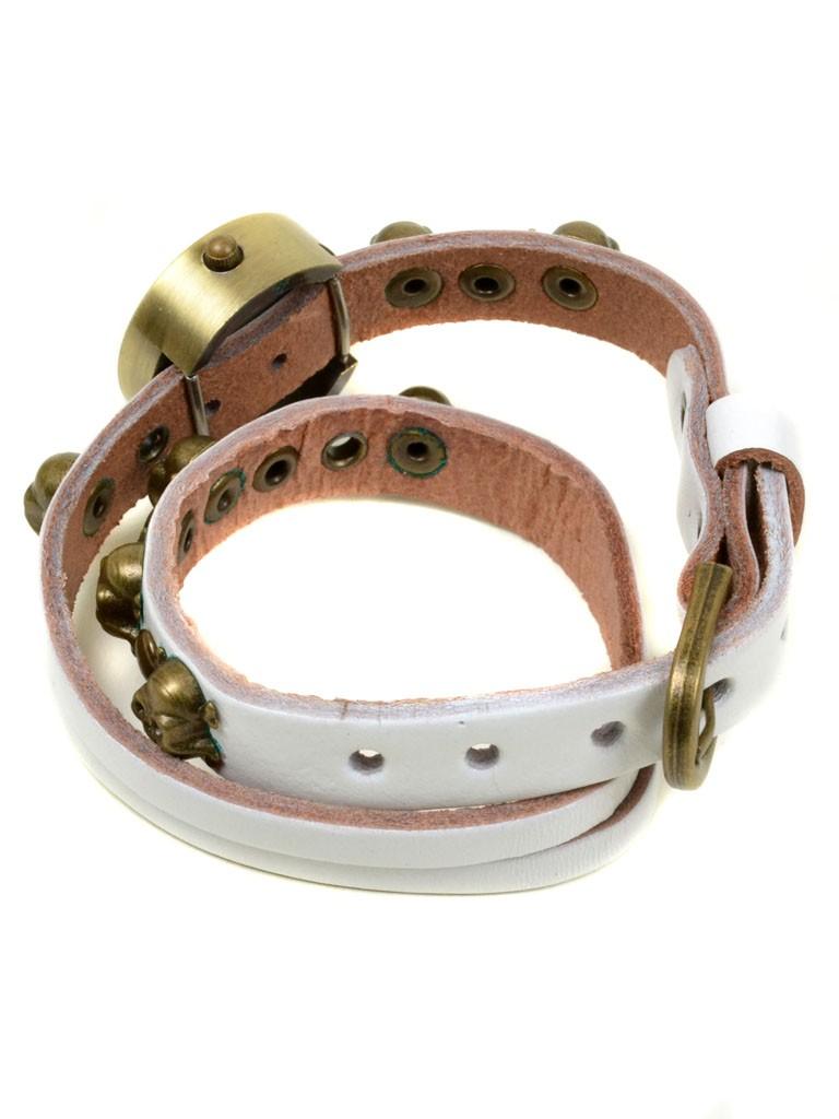 Часы Кварц Женские 4015-5 бел ремешок обмотка бронза