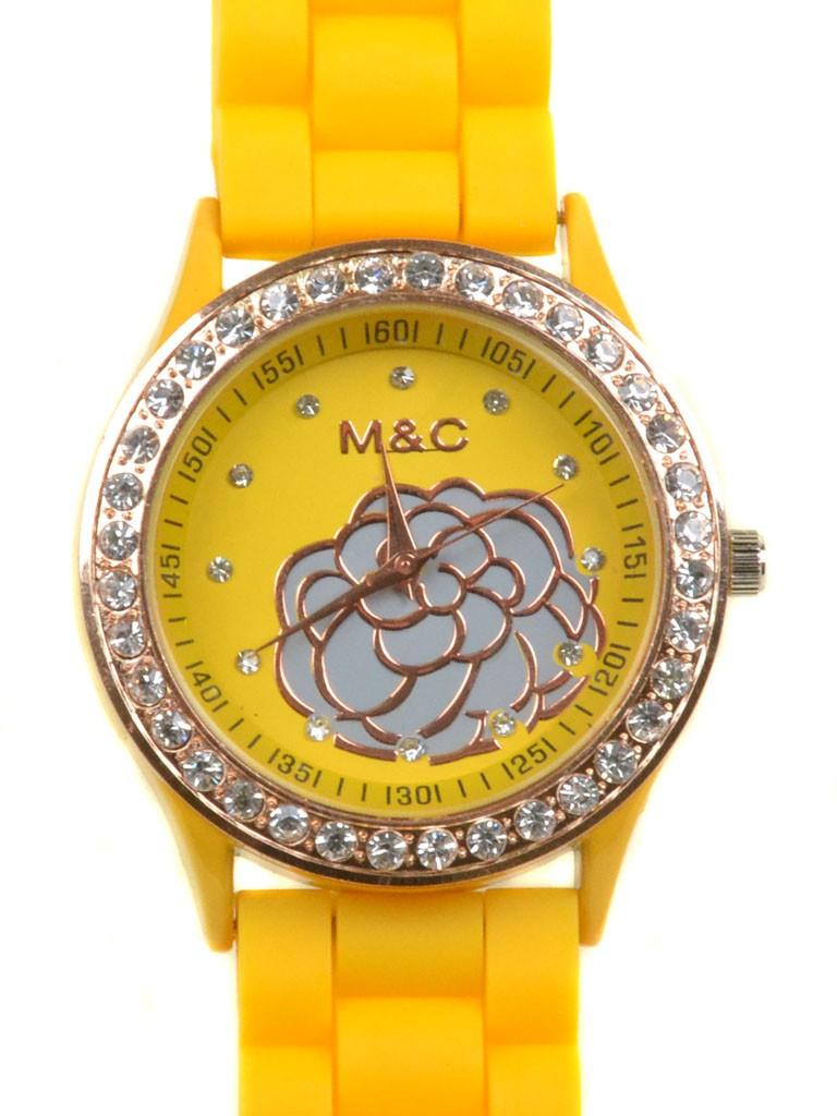 Часы Кварц Женские 4016-2 желт ремешок силикон