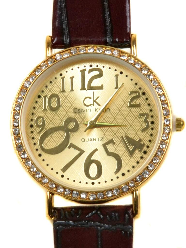 Часы Кварц Женские T3004-2 золото ремешок иск-кожа