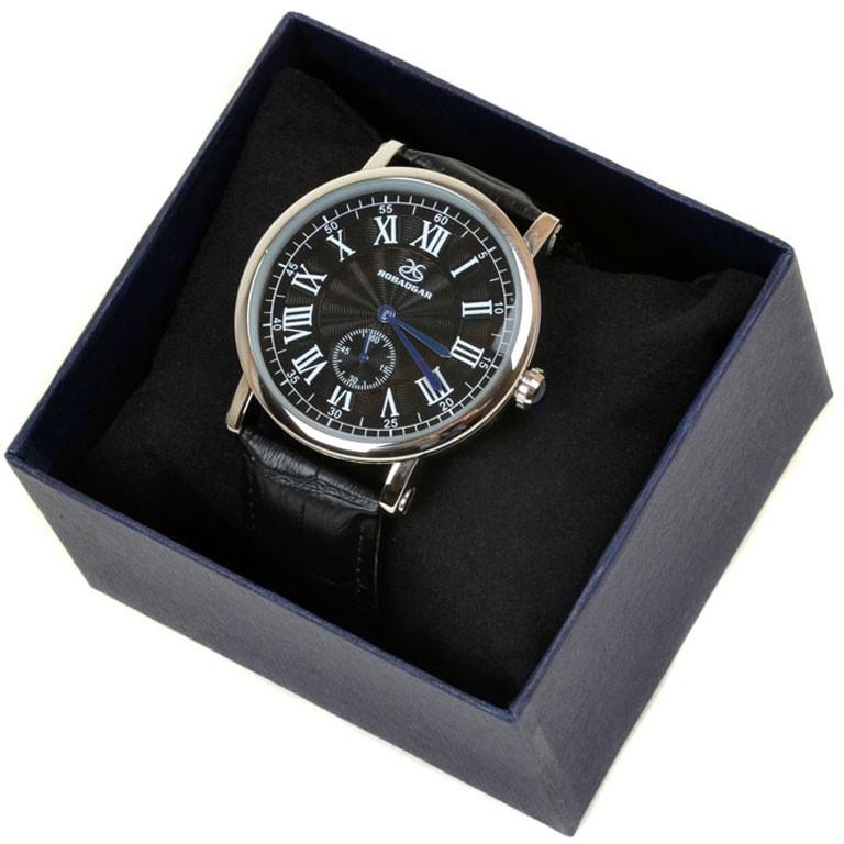Часы Кварц Мужские 8046 серебро ремешок иск-кожа