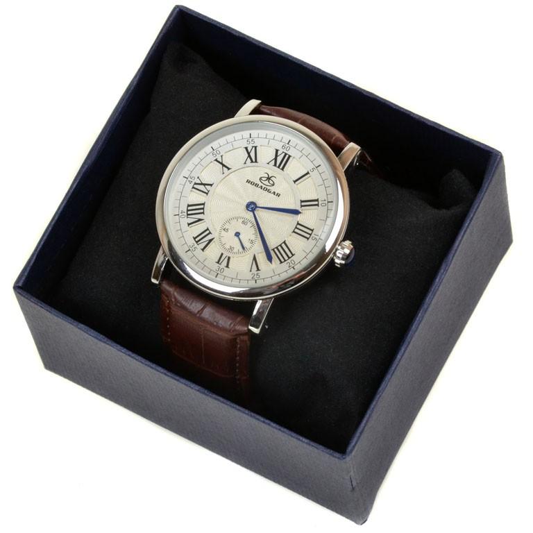 Часы Кварц Мужские 8048 серебро ремешок иск-кожа