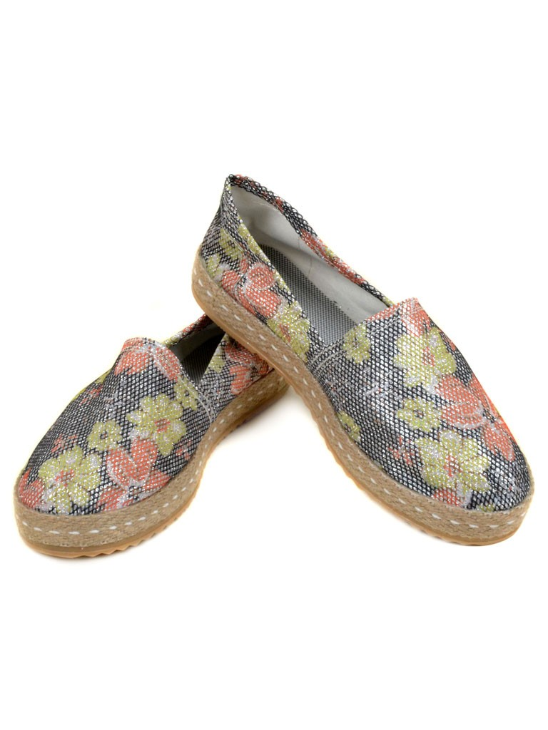Обувь Женская  Эспадрильи 003 Flower-silver 36(р)