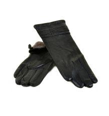 Перчатка Женская кожа МариClassic F24 Шерсть мод-10 black