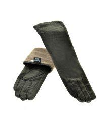 Перчатка Женская кожа F25/17 40см мод4 black шерсть
