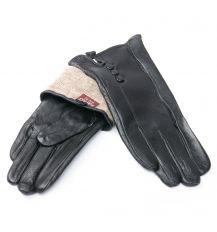 Перчатка Женская кожа F24/19 мод3 black шерсть