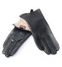 Перчатка Женская кожа F24/19 мод5 black шерсть