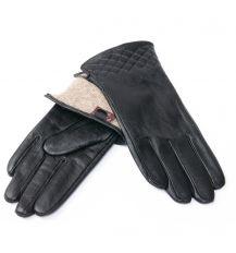 Перчатка Женская кожа F24/19 мод8 black шерсть