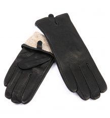 Перчатка Женская кожа-олень F33/19 мод2 black шерсть