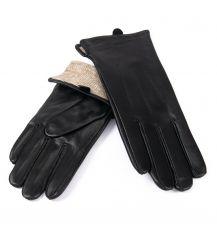 Перчатка Женская кожа F31/19 мод1 black шерсть