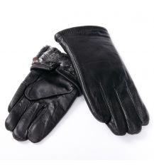 Перчатка Мужская кожа M24/19 мод5 black мех серый