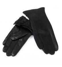 Перчатка Женская кожа-олень F33/19-1 мод4 black Флис