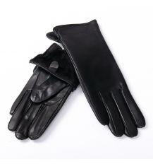 Перчатка Женская кожа F31/19-1 мод2 black флис